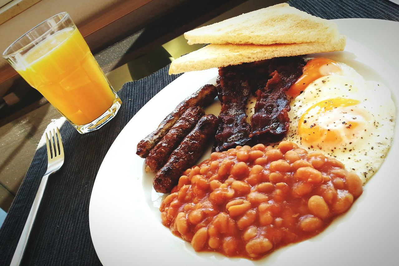 Food And Drink Breakfast Orange Juice  Freshness Fried Egg Ready-to-eat Close-up English Breakfast