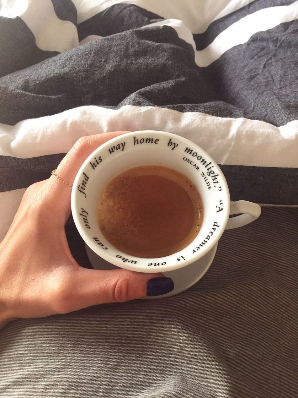 Coffee Bed Morning Morning Light Oscarwilde Quote Holding Human Hand Tea Cup Human Body Part Close-up Drink Lifestyles Bedsheet Nailpolish Hand Monochrome