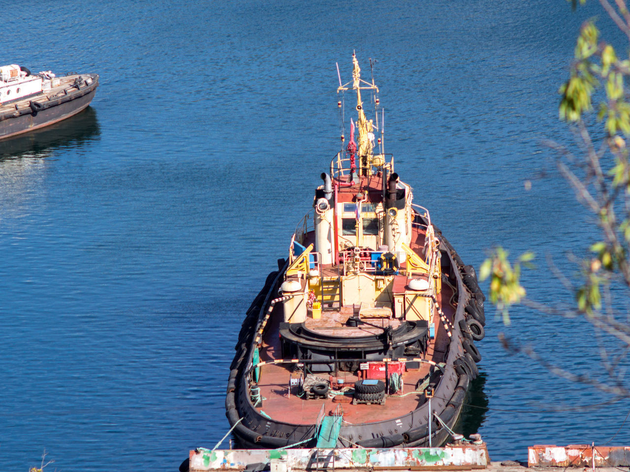 Approached Berth Boat Crimea Day Gawlet High Angle View Moored Outdoors Russia Sea Sevastopol  Tug Tugboat Water