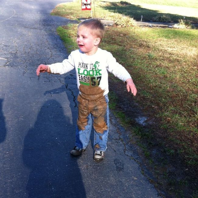 Lil bro fell in some mud