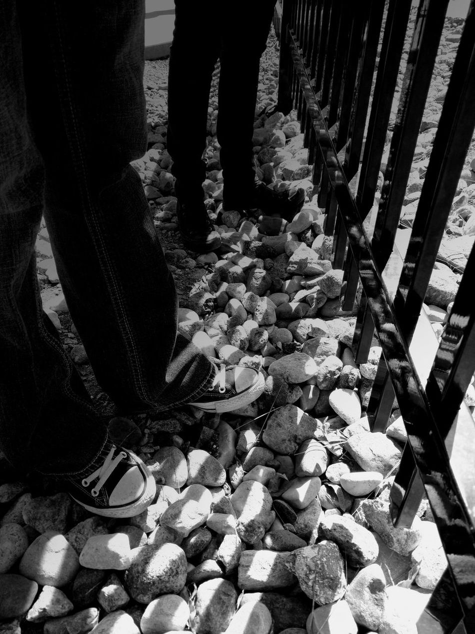 Monochrome Photography Shoes Walking Outdoors Footpath Black And White Stones Fence Shadows