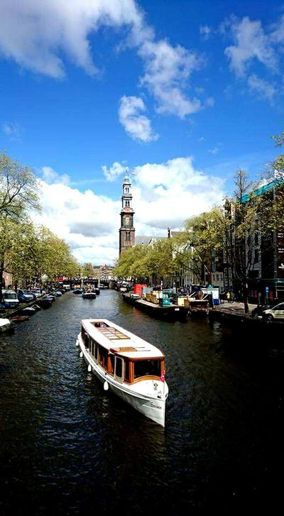 Amsterdam Amsterdam Canal Travel Destinations City Travel City Life Cityscape Tree Travel Photography Canaux Boat Bateau Sky And Clouds Westerkerk
