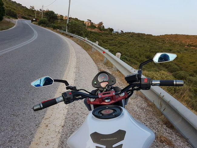 motorcycle stop Rest Transportation Day No People Outdoors Road Greece Sunion Sounio Trip Sunlight Landscape The Way Forward Road