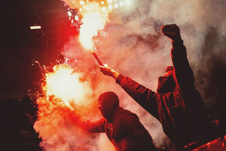 No Pyro no Party Hooligan Ultras Frankfurt Only Men Adults Only One Person Smoke - Physical Structure Men Outdoors Adult People One Man Only Performance Sky Day Pyro