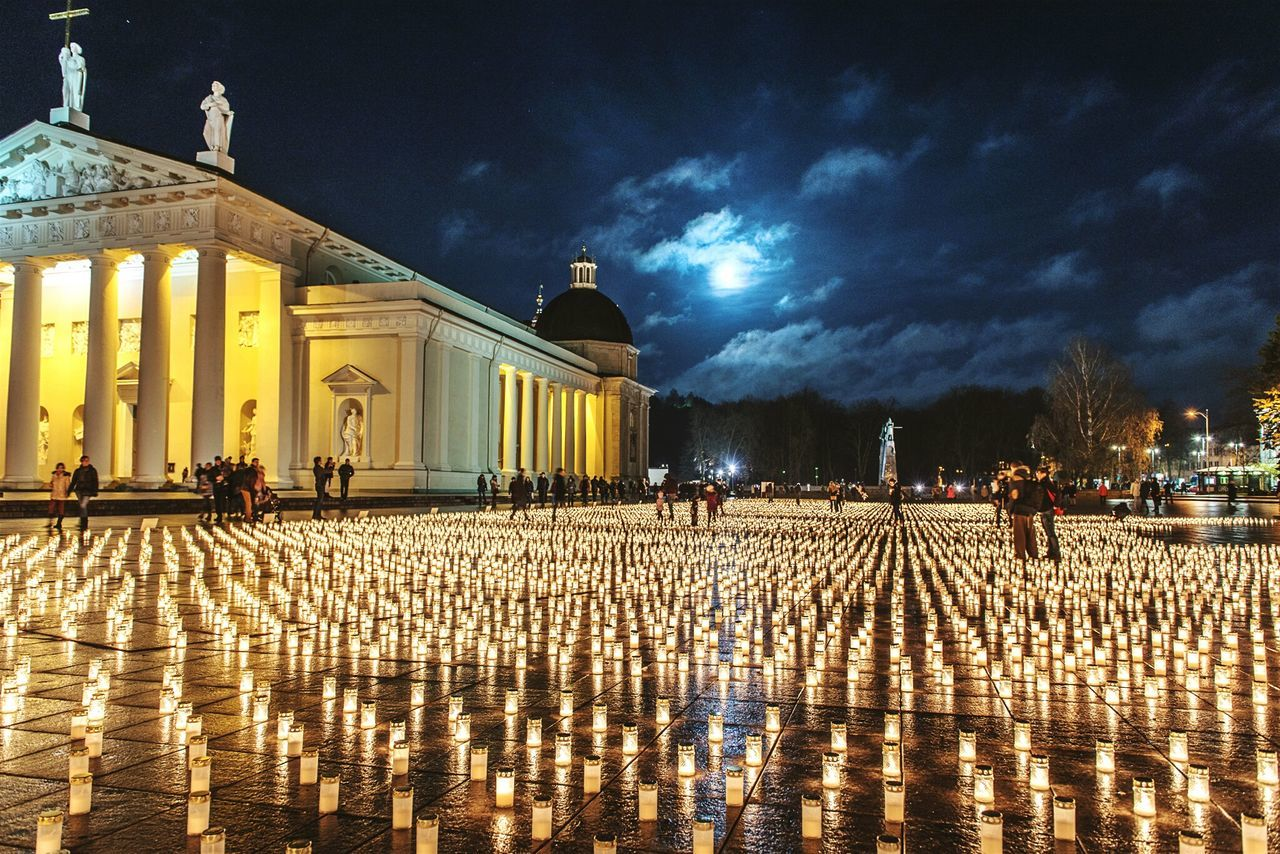 Each Candle for people who died on the roads of Lithuania. Candlelight Candles Nightphotography Open Edit Cityscape Photos That Will Restore Your Faith In Humanity What We Revolt Against Night Night, Sleep Tight