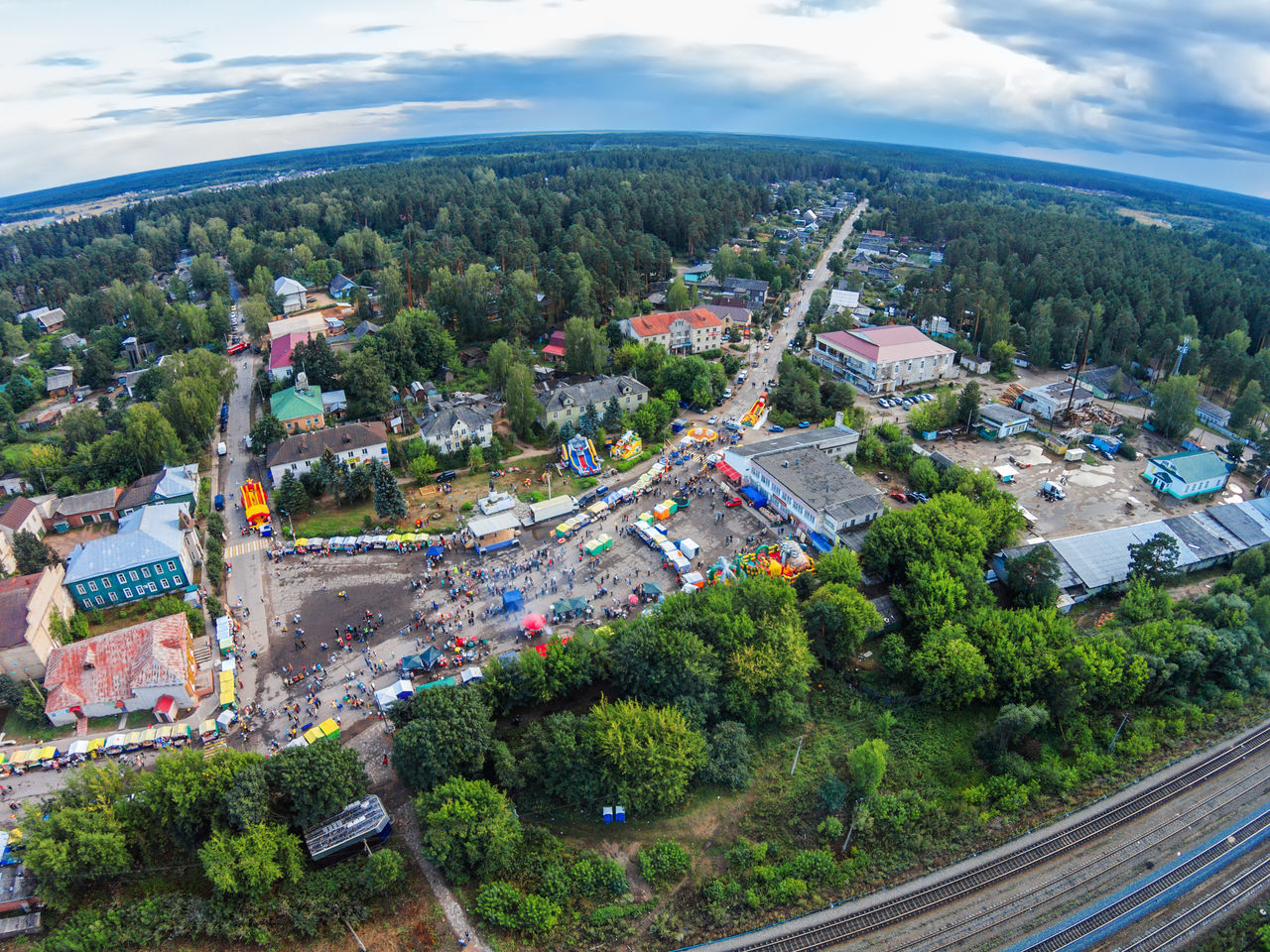 "The centre of the village from the height of bird flight. Holiday ""Day of the village"". A Bird's Eye View Aerial View Architecture City Cityscape Cloud - Sky Day Dji Dji Phantom High Angle View Landscape Multi Colored Nature No People Outdoors Sky Travel Destinations"
