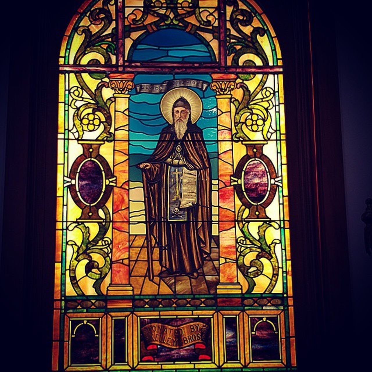 Stained glass at the Annunciation Greek Orthodox Cathedral. Weddingtime Greek Detroit Android note4
