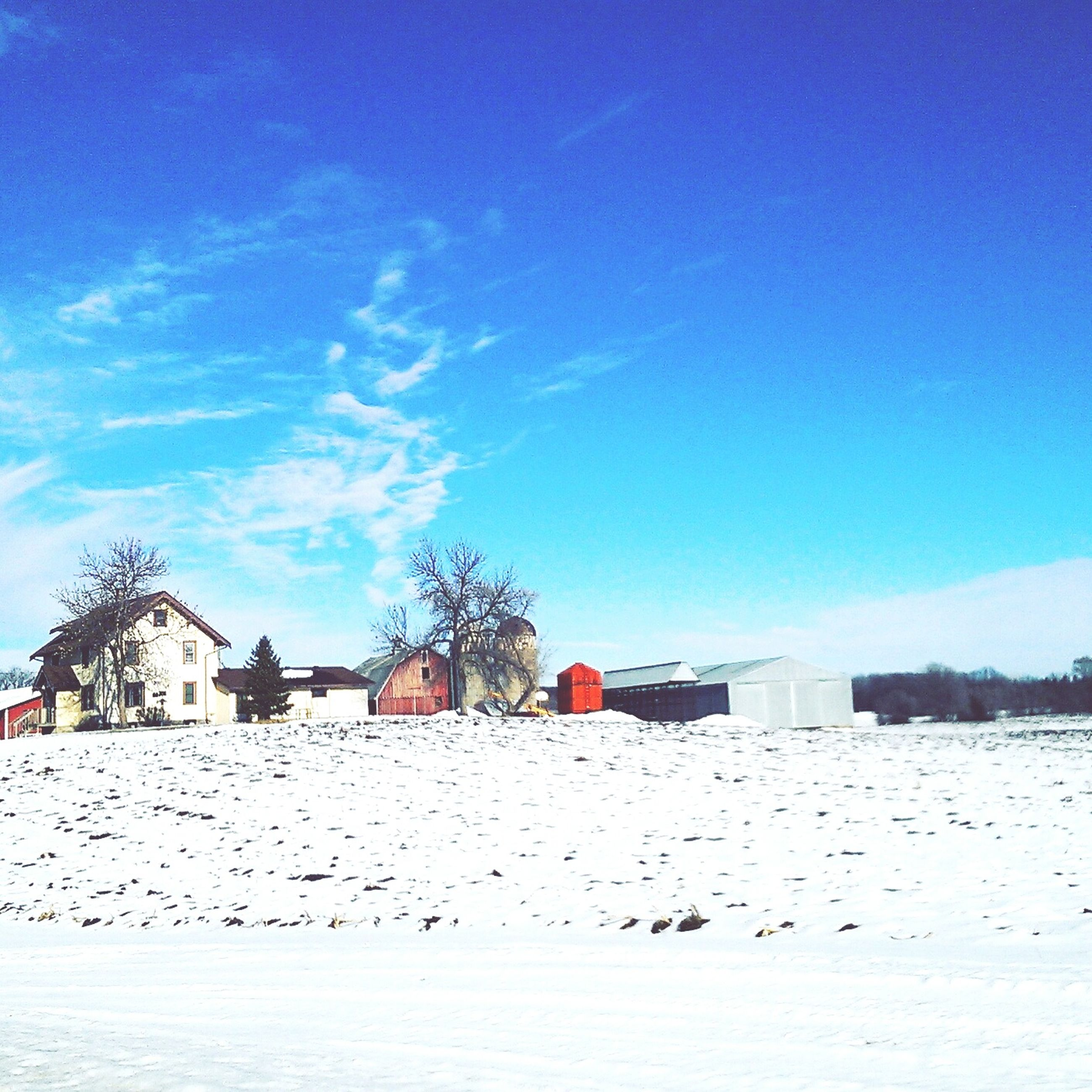 blue, building exterior, built structure, architecture, snow, winter, sky, cold temperature, house, copy space, clear sky, landscape, nature, day, sunlight, tranquility, tranquil scene, white color, outdoors, scenics