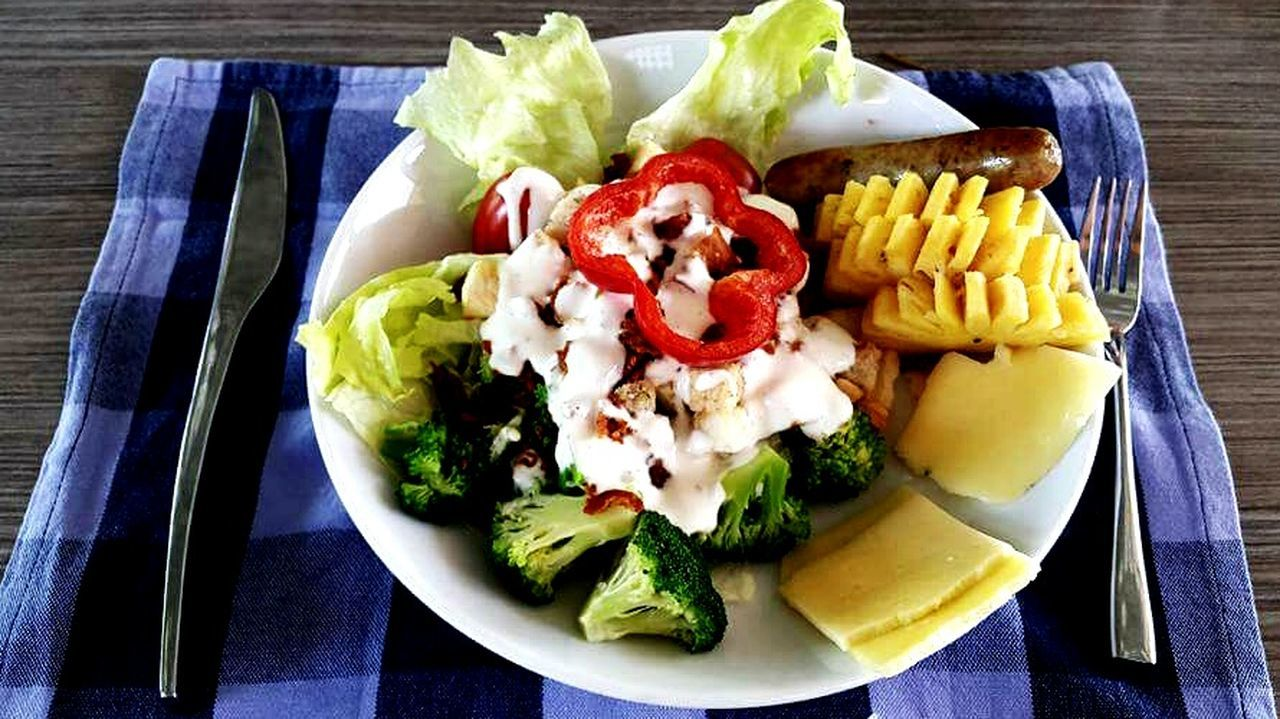 food and drink, plate, food, vegetable, freshness, healthy eating, salad, ready-to-eat, fork, no people, lettuce, high angle view, directly above, indoors, corn, close-up, greek food, mexican food, day