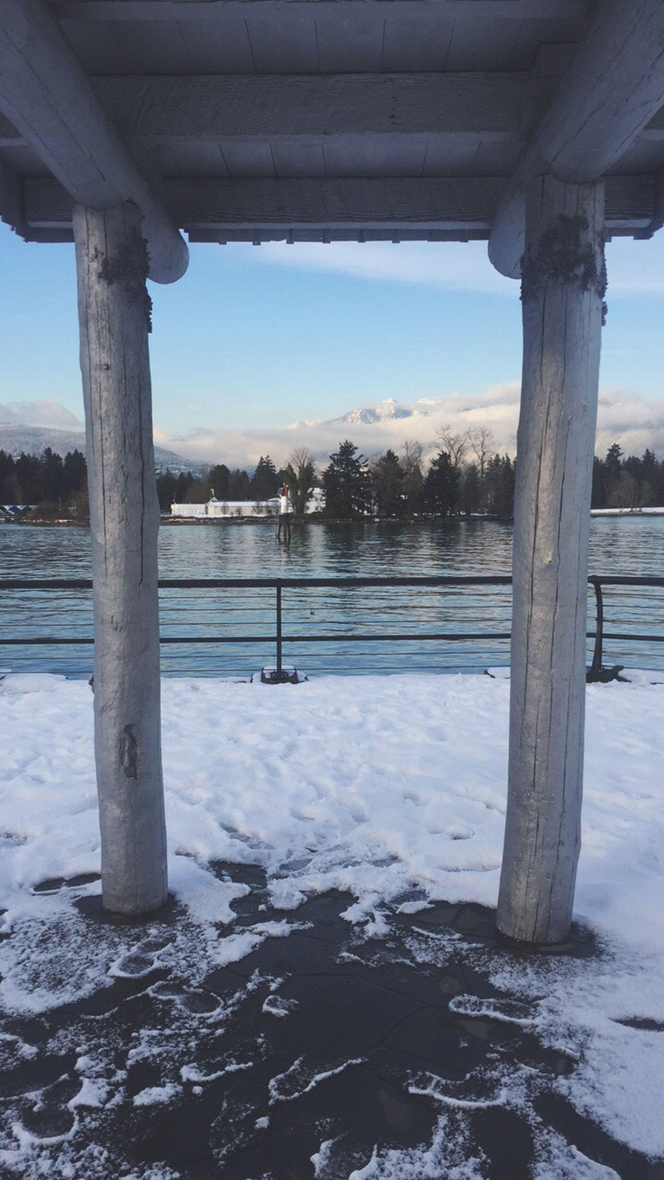 water, nature, architecture, architectural column, built structure, day, tree, below, cold temperature, no people, outdoors, beauty in nature, bridge - man made structure, sky, underneath
