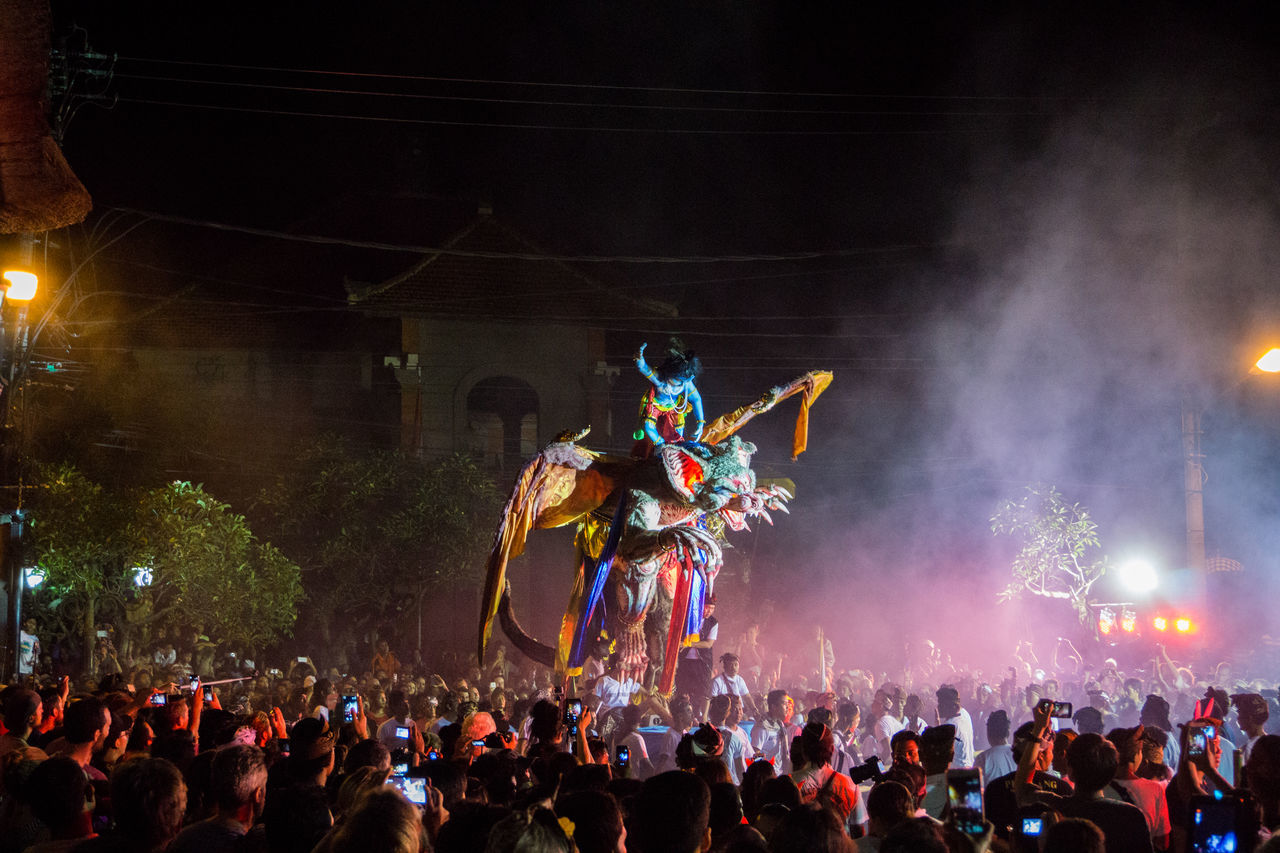 Arts Culture And Entertainment Audience Bali Crowd Excitement Festival Giant Large Group Of People Night Nyepi Ogoh-ogoh People Performance Performing Arts Event Ubud Ubud, Bali