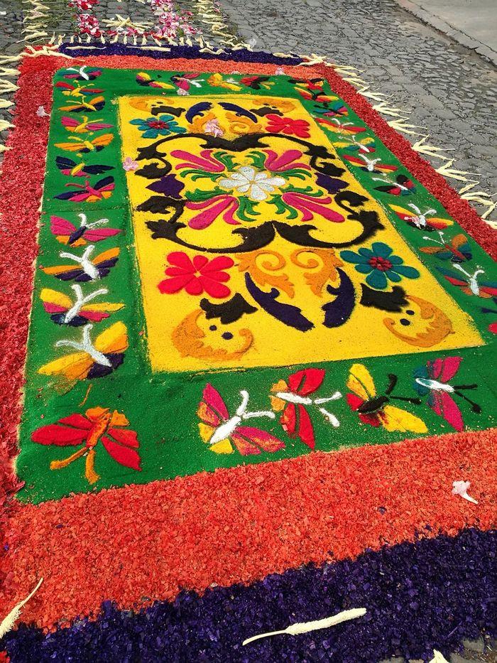 Street Street Design Colors Colored Rug Street Rug Antigua Guatemala Antigua Guatemala Tradition Procession Holy Week Holy Week Celebrations