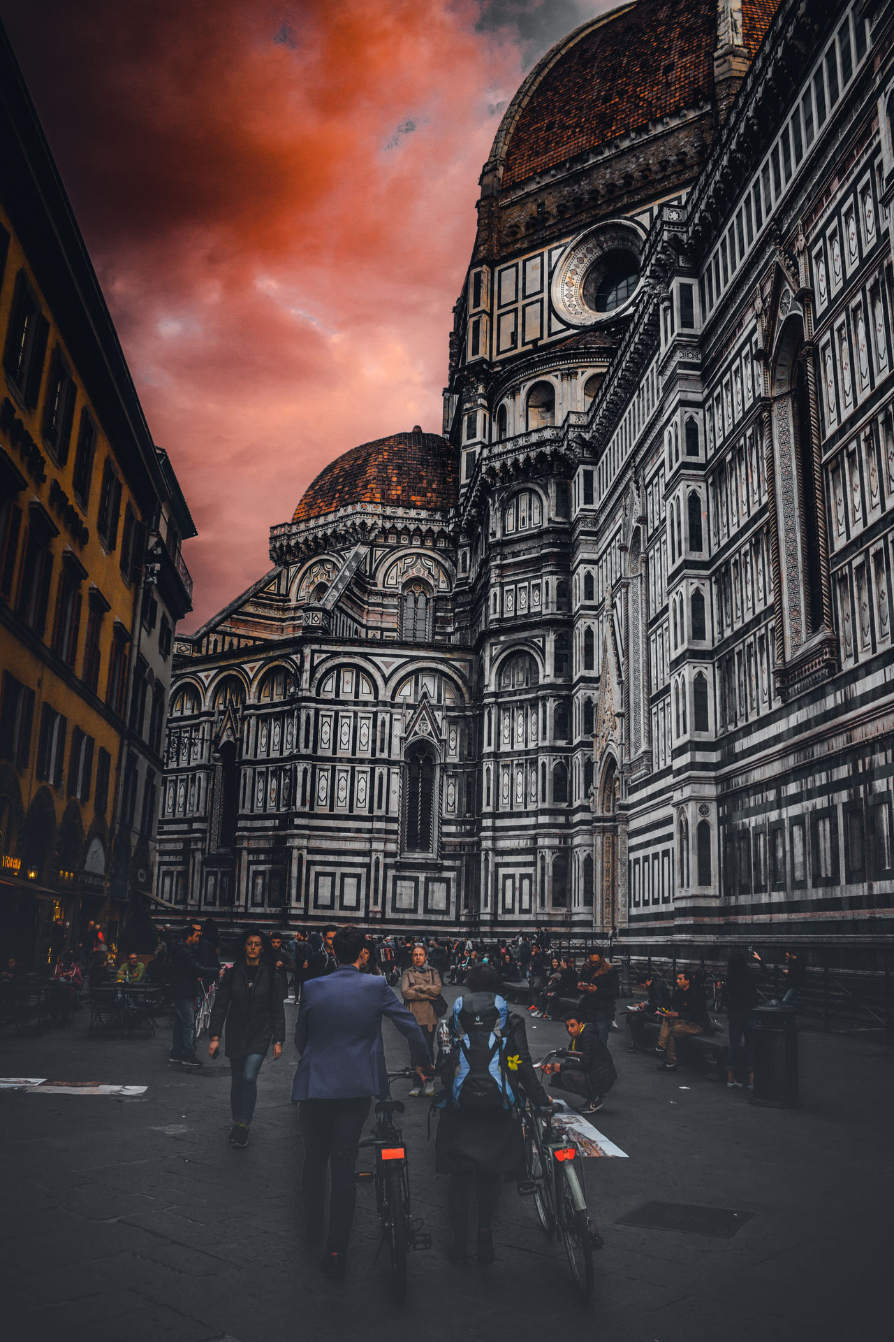 Architecture City People Built Structure Building Exterior Outdoors Sky EyeEm Clouds EyeEm Best ShotsEyeEm Best Edits Red Clouds Duomo Florence Italy City Eye4photography  Low Angle View Europe EyeEm Gallery Cloud - Sky Colors Travel Destinations