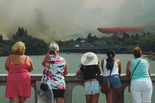 Untold Stories in Chelan. Townies and tourists alike gather to support the Firefighters battling the Firestorm of 2015. People Together Original Experiences Traveling Travel Stories On The Way The Photojournalist - 2016 EyeEm Awards Young Adult Group Onlooker Onlookers Travel Photography Adventures Symbolic  Bridge Outdoors The Changing City Summer Views Wildfire Disaster Natural Disaster Urban Lifestyle Capture The Moment