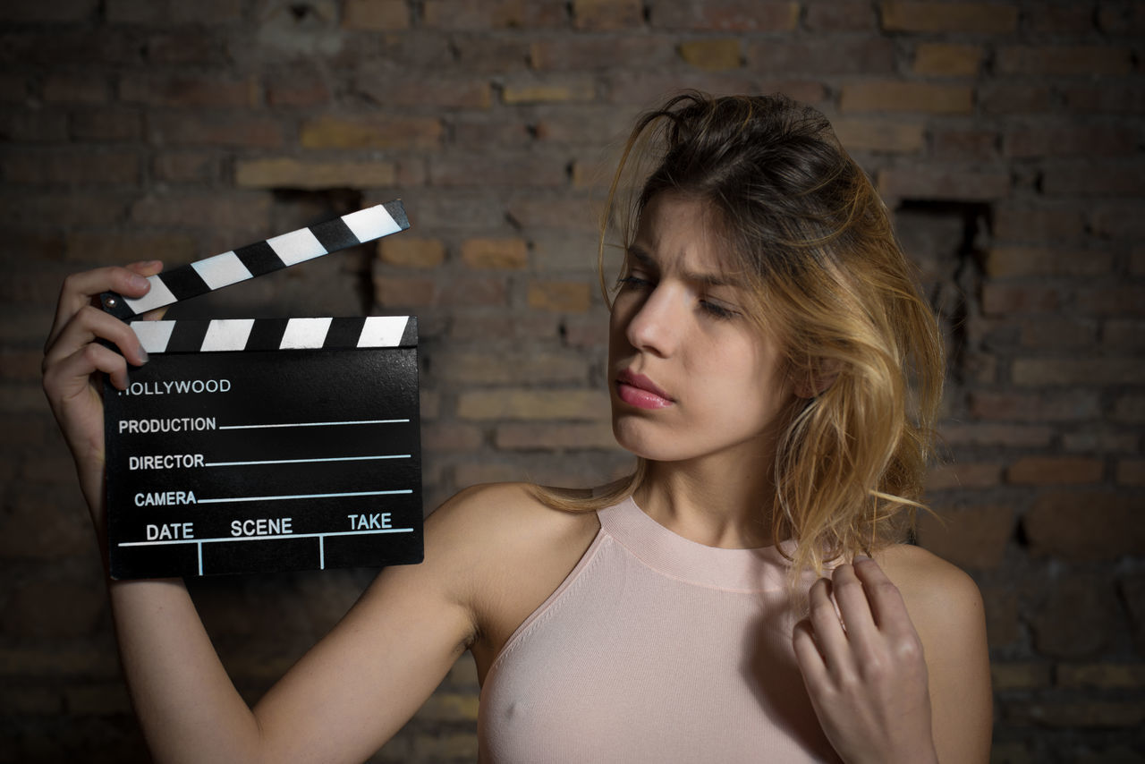 Actress Audition Blonde Cinema Clapboard Clapperboard Doubtful Expression Film Girl Human Face MOVIE One Person People Portrait Young