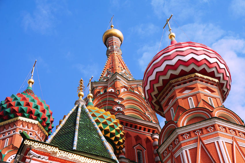 2014 Architecture Building Exterior Church Cultures Kremlin Moscow Red Square Religion Russia Russia Orthodox Church Sky St. Basil's Cathedral World Heritage Кремль Собор Василия Блаженного ポクロフスキー聖堂 モスクワ ロシア 大聖堂 教会 聖ワシリイ大聖堂 赤の広場 グレムリン