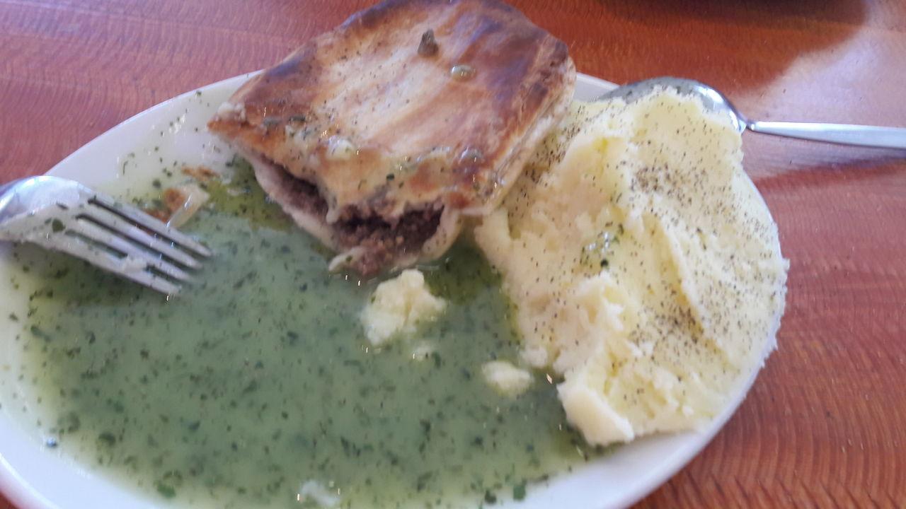 Food And Drink Indoors  Ready-to-eat Close-up Pie & Mash Typical East End London Food Liquor Traditional East End
