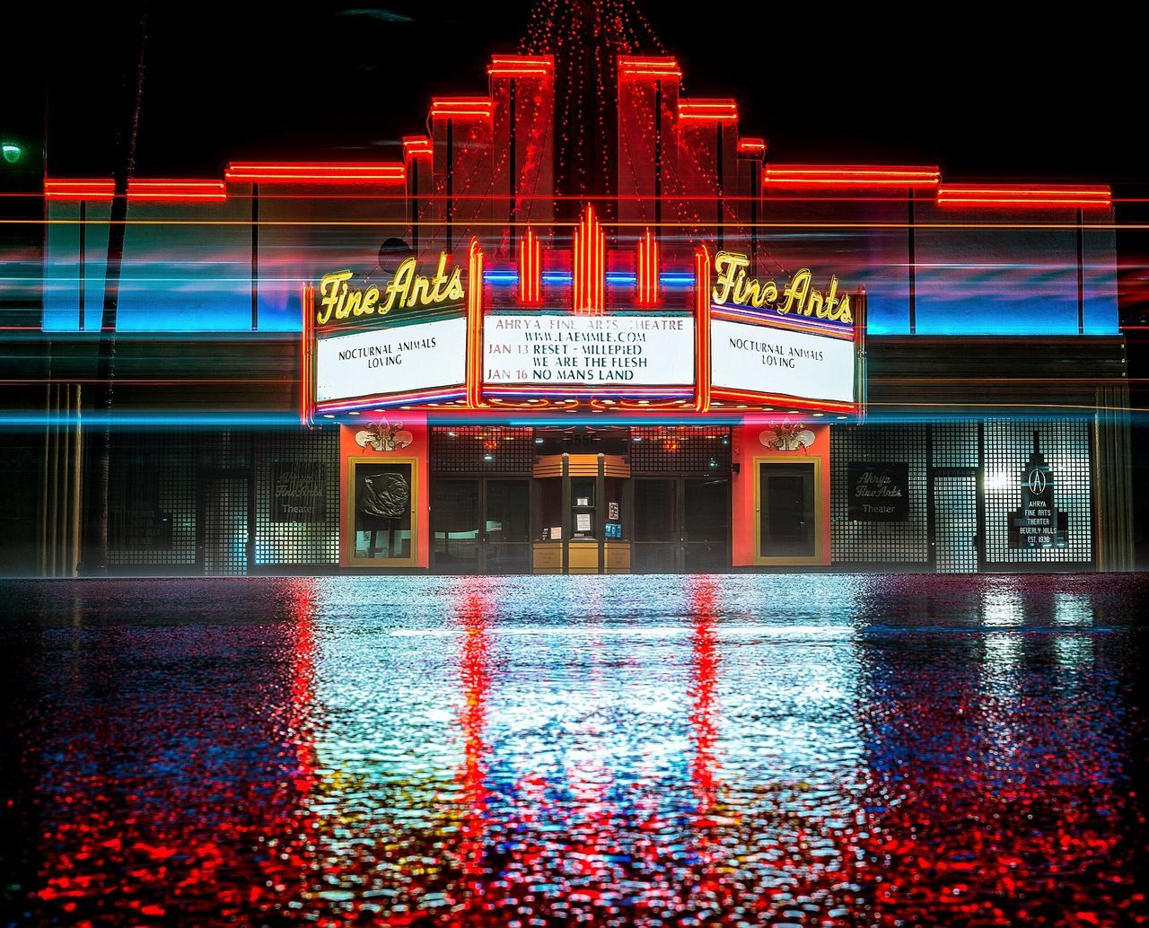 Fine arts theatre on Wilshire Red Night Reflection Architecture Water Neon Text No People Multi Colored Built Structure Outdoors City