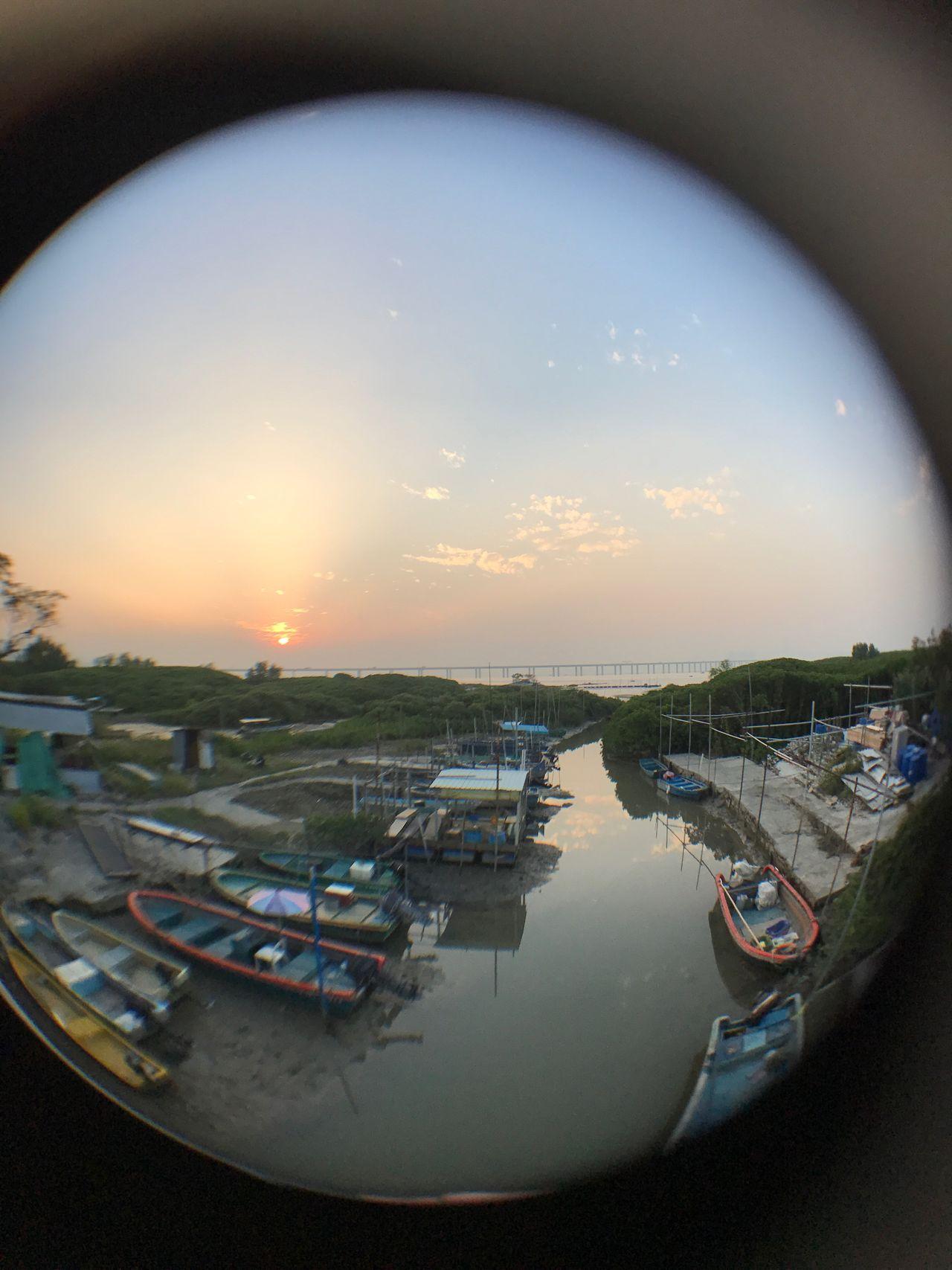 漁舟晚唱 - 坑口村 Reflection Sunset Moored Outdoors Nautical Vessel Silhouette Fisheye Hanging Out Check This Out Things I Like IPhone7Plus Fine Art Photography Lau Fau Shan Hong Kong