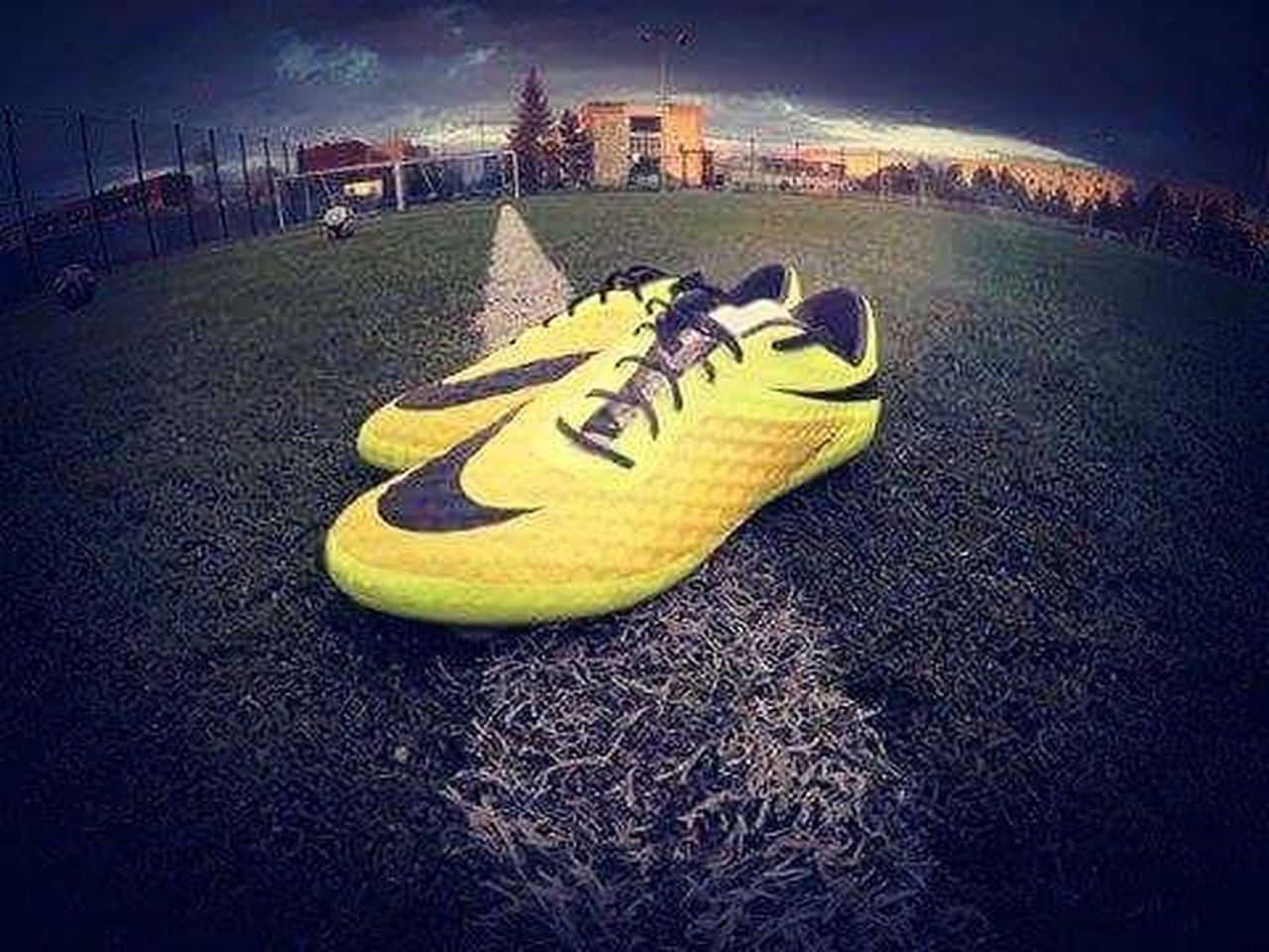 soccer, sport, night, yellow, no people, grass, outdoors, soccer field