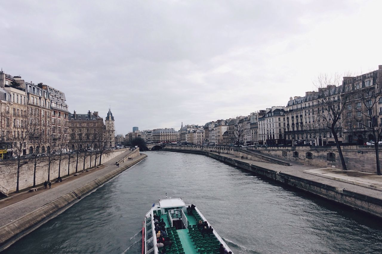 Seine//. Seine River River View Transportation City Water Cityscape Cloud - Sky Cloudy Sky Building Exterior Outdoors Architecture Travel Destinations Travel Paris Building Life Landscape City Life Europe Cruise Ship View