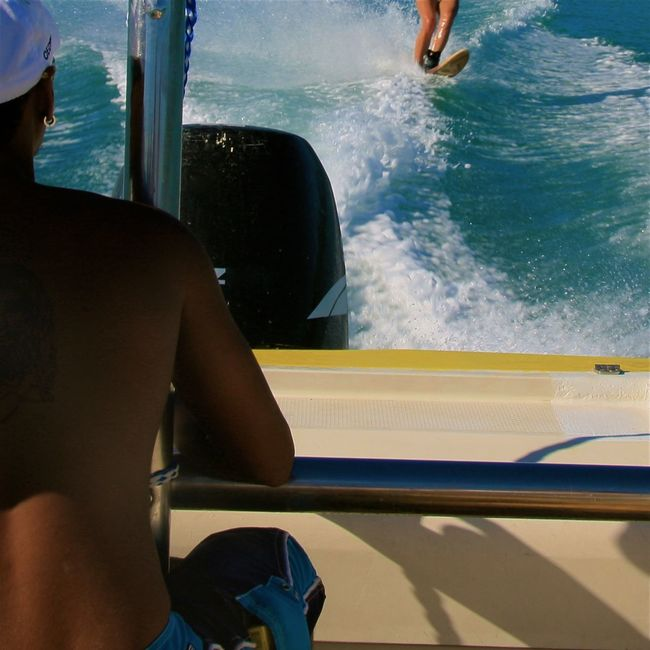 Backside Blue Boat Enjoying Life EyeEm Best Shots Full Frame Getting Inspired Human Body Part Legs Leisure Activity Low Section Man Mauritius Part Of Sea Speed Sport Sports Sunshine Vacations Water Waterskiing Watersports Wave