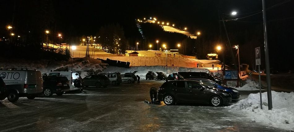 First Eyeem Photo Alpine Skiing Night Lights In The Dark Snow Black Yellow Parking Lot Hillside Norway On The Way Home Tired