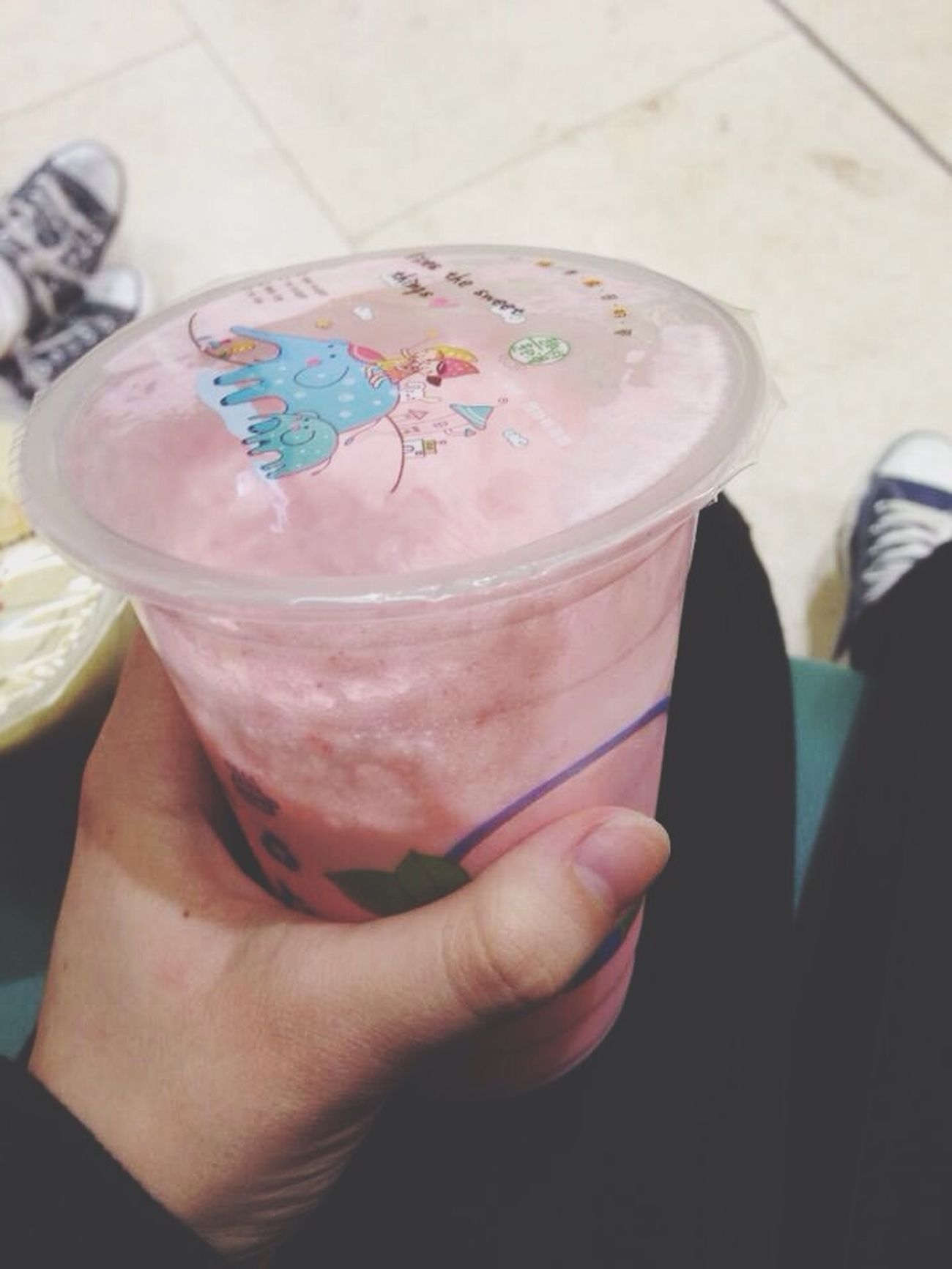 First time drinking this :0 Bubble Tea Milk Tea Bubble Milk Tea Strawberry Flavour