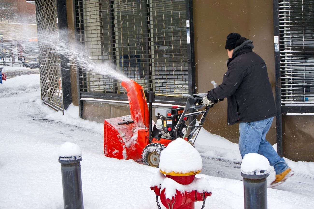 A man and his snow blower...hopefully that will be the last time he uses it for the season. Photography Snow Blower Snow Red Vibrant Colors Working Hard 365