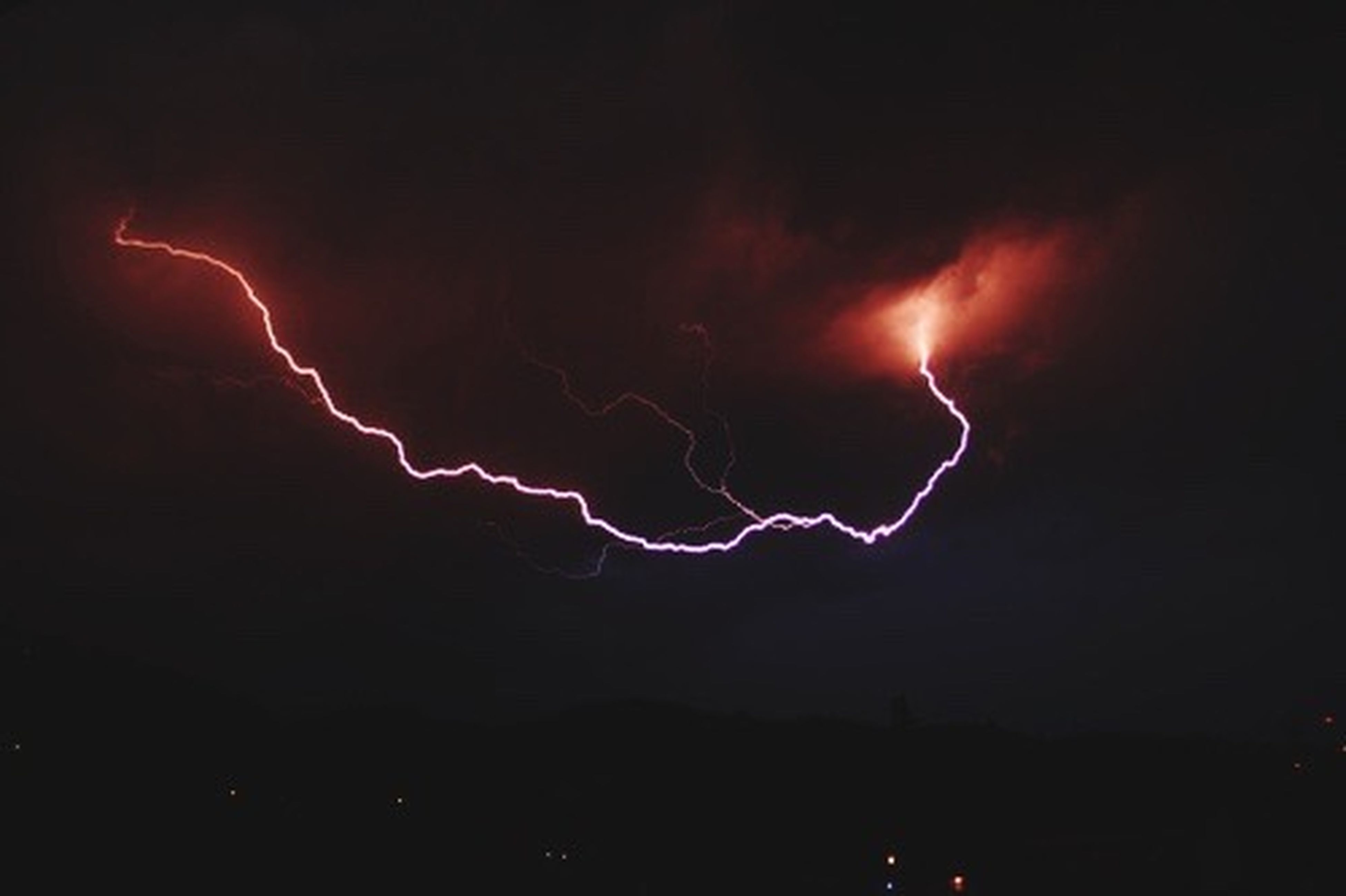 lightning, power in nature, storm, night, red, thunderstorm, electricity, no people, outdoors, nature, forked lightning