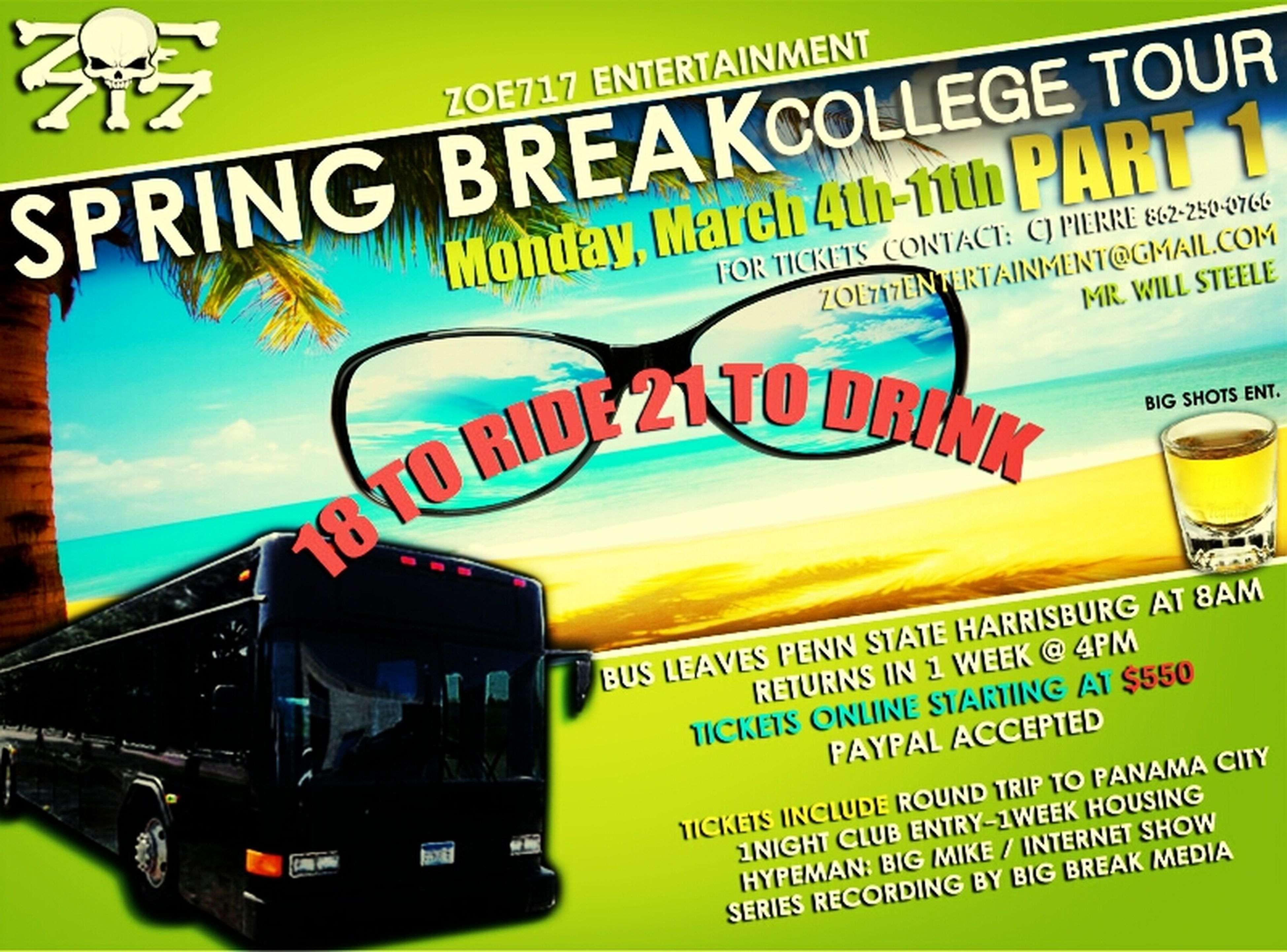 come #party with my team #Zoe717entertainment for #SpringBreak as we ride out to #Florida from #Pennsylvania , contact me for more info tickets selling fast so get urs today ! Party Partying Till Sunrise Roadtrip Party Hard Florida Panama City Pennsylvania South Beach Zoe717ent Zoe717entertainment
