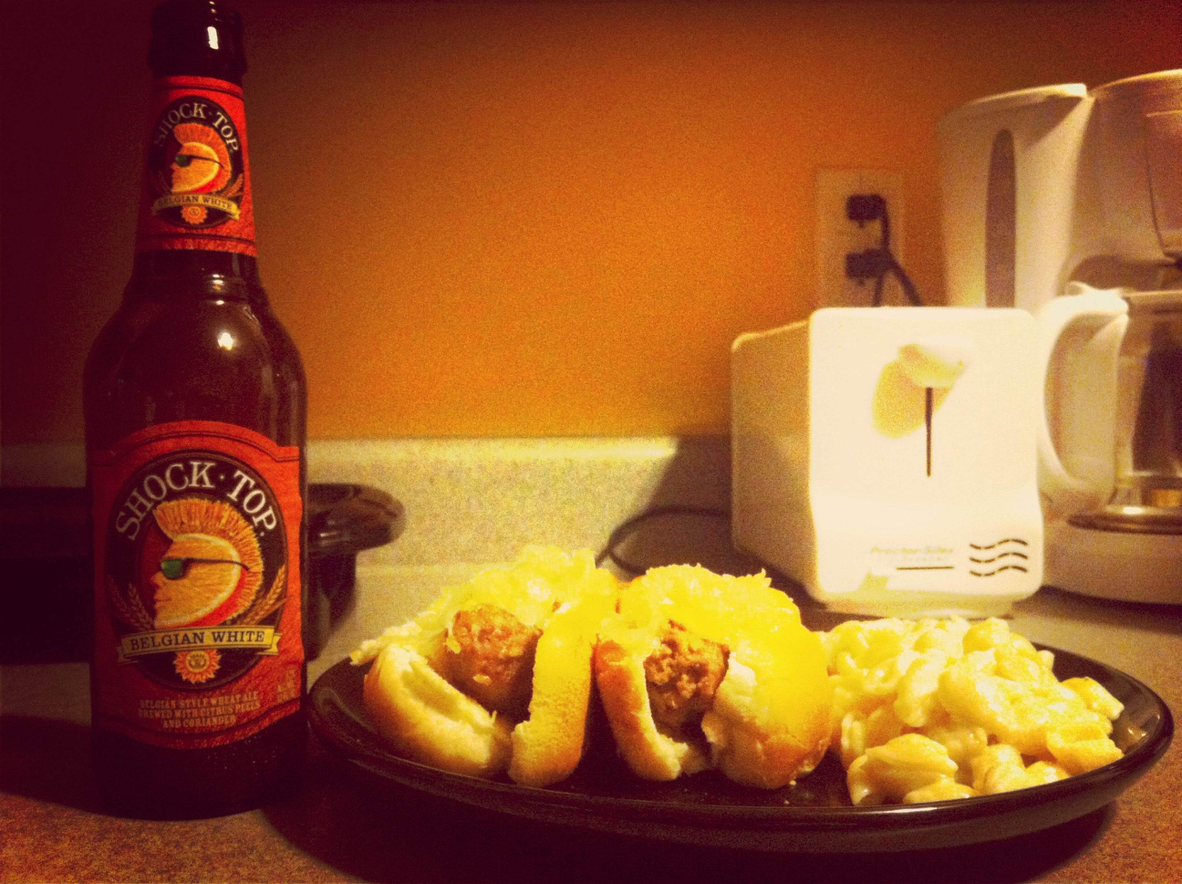 Anniversary Dinner! Brats, Mac and cheese, and a shock top to make it better!