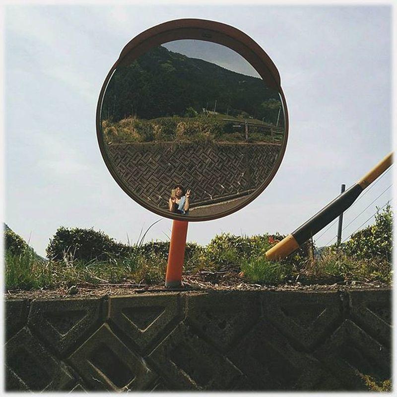 🐰 こんにちは✨😃❗ good afternoon(* ´ ▽ ` *)ノ ※ 天空のお茶畑付近🎶😀Sky of your tea plantation around ※ カーブミラー Curvedmirror 私 Me 散歩 Walk Japan 日本 自撮り Self -taking Android 🎈👻 View_Japan_nagoya_mitu