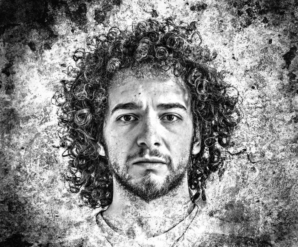 ME HDR version. Beard Black And White Blackandwhite Close-up Curly Curly Hair Grounge HDR Headshot Human Face Man Me Mustache Portait Of A Men Portrait Selfie Texture The Portraitist - 2016 EyeEm Awards Vignette Vintage Wall Young