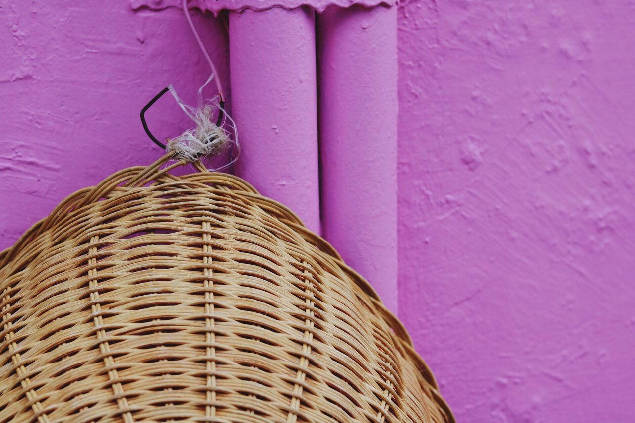 Colour blocks Basket Hanging Textured  Whicker No People Day Outdoors Close-up Architecture Home Interior EyeEmNewHere Singapore Arts Culture And Entertainment Haji Lane, Singapore Lifestyles Travel Destinations Street Streetphotography Pink Wall