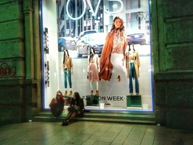 """Vetrina"". BIG Night Photography Street Photography Vetrine Shop Window Fashion Mobile Photography S3mini Camerazoomfx Eyeemfilter Edited Milano not much interested but it is Fashion Week! Lol"