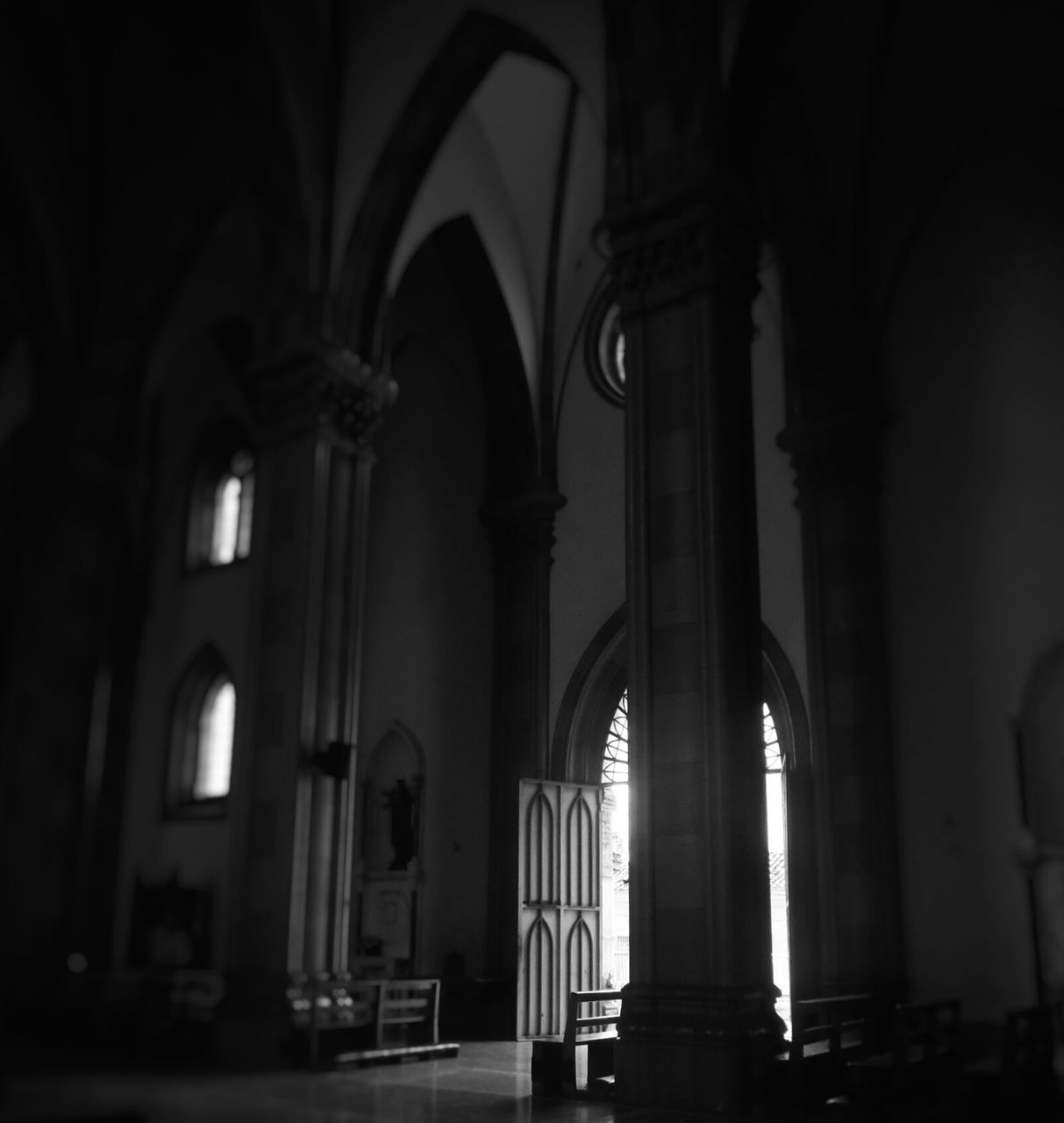 religion, arch, spirituality, place of worship, architectural column, architecture, indoors, history, pew, built structure, no people, day