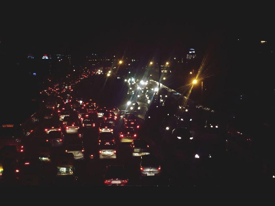 Traffic scenes Traffic Jam Traffic Lights Red White Footoverbridge Birdseyeview Evening Delhi Delhidiaries Winter Winters