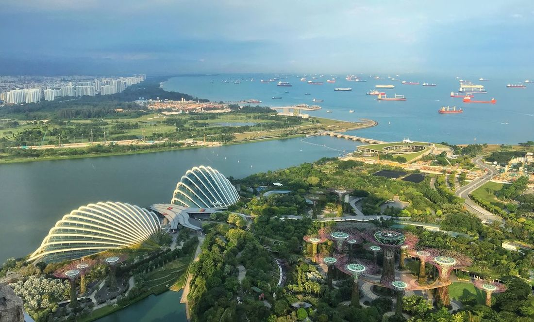 Singapore Architecture No People Building Exterior Water Cityscape Built Structure Sea Aerial View Day Outdoors Nature Scenics Beauty In Nature Clouddome Flowerdome Suoertrees Gardens By The Bay Architecture Cityscape Singapore