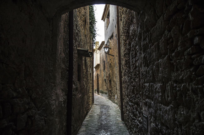 Peratallada in Girona Alley Arch Architecture Building Built Structure Catalonia Day Diminishing Perspective Girona Medieval Narrow Old Peratallada Rural Sky SPAIN The Way Forward Tunnel Vanishing Point Walkway