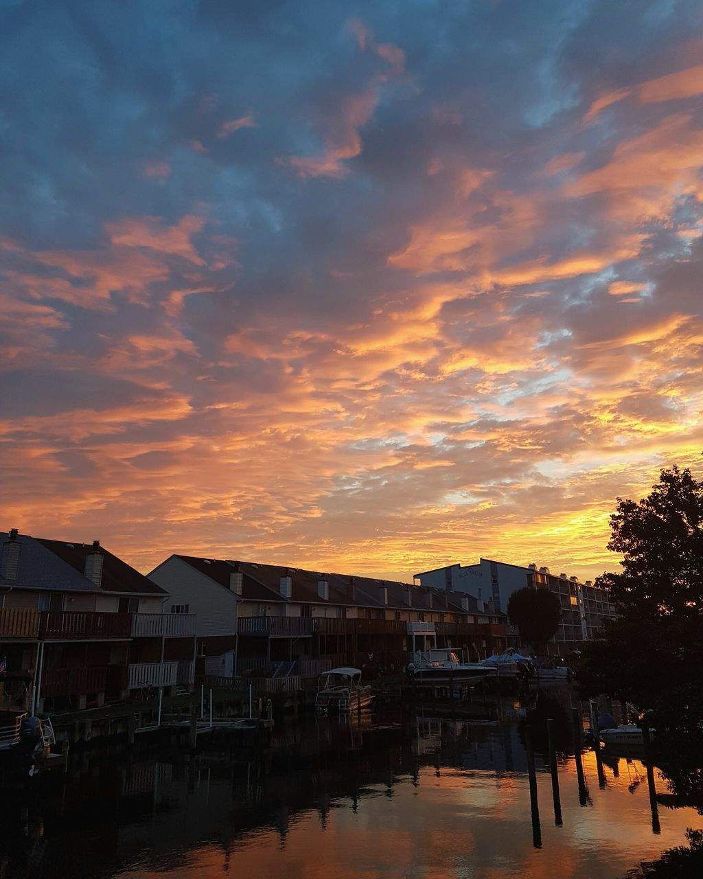 sunset, built structure, architecture, sky, building exterior, orange color, cloud - sky, no people, outdoors, tranquility, nature, beauty in nature, tree, city, day