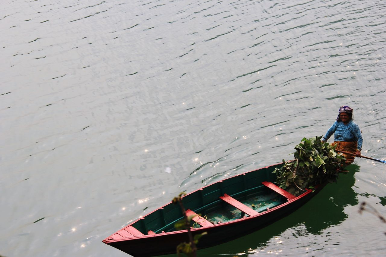 One Person Floating On Water Local Life Happiness Old Lady ! Boat Phewa Lake Pokhara!