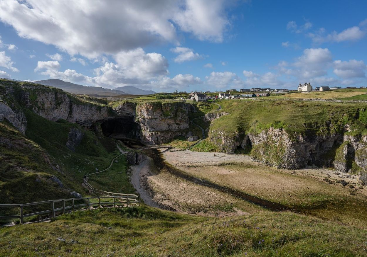 Nature Landscape Sky Beauty In Nature Scenics Travel Destinations Outdoors No People Cloud - Sky Grass Day Water Cave Smoo Cave Scotland Landscape_Collection Landscape_photography