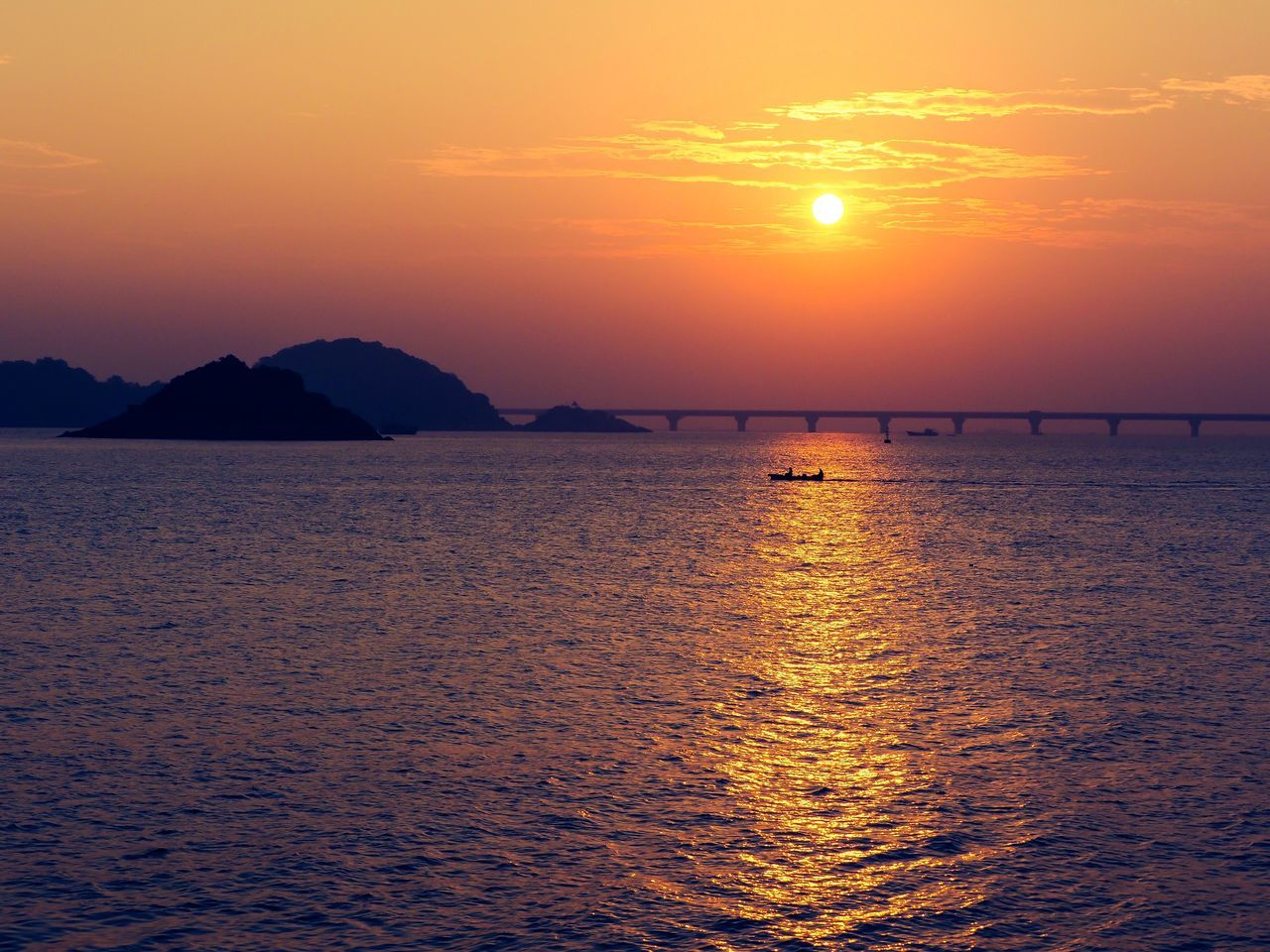 The Last Sunrise 2016 Sunrise Sea Beauty In Nature Water Scenics Nature Tranquil Scene Tranquility Orange Color Idyllic Waterfront Sun Silhouette Outdoors Sky No People Mountain Sea View Bridge Sea_collection Zhuhai China Seascape Beauty In Nature Horizon Over Water