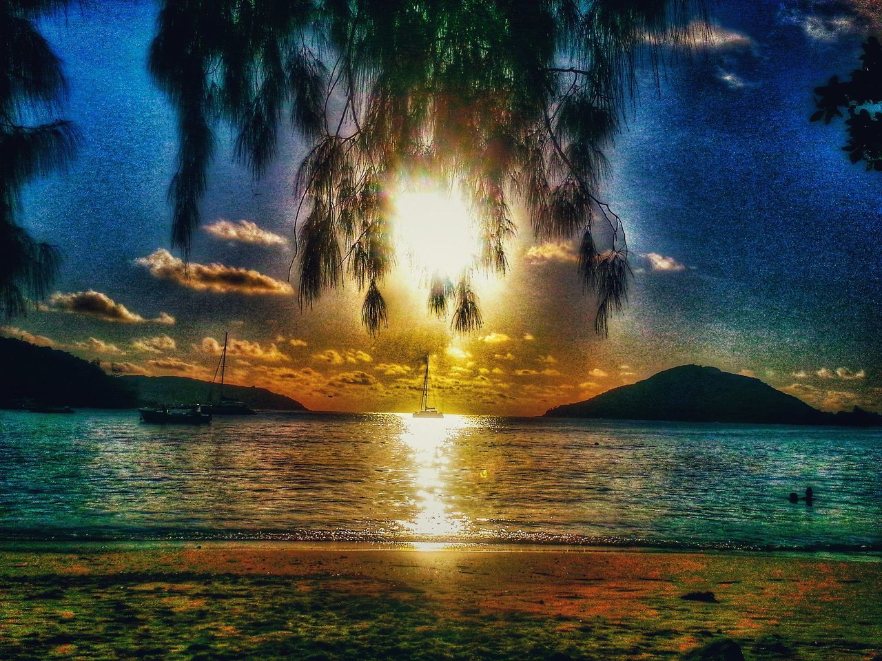 water, sea, beauty in nature, nature, scenics, tranquility, tranquil scene, reflection, sky, waterfront, outdoors, rippled, sunset, no people, horizon over water, tree, day