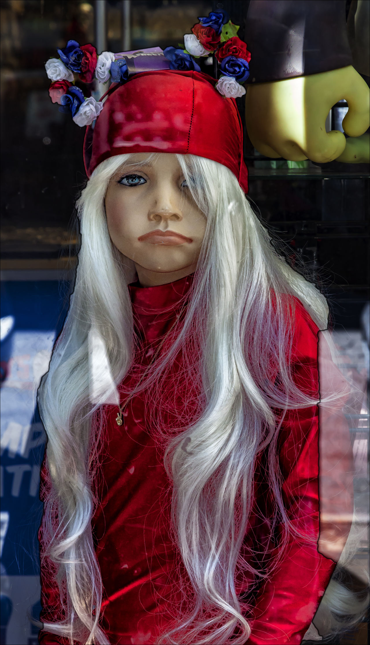 Mannequin Female Mannequin Mannequin In Red Mannequin In Store Window Mannewuin White Wig On Mannequin