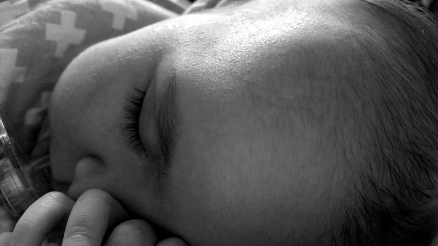 End of a long day , sleep, nap time, baby, black and white collection, people, child, One Person Close-up Human Skin Sleeping People Day Indoors  Real People Babyhood Care Love My Family ❤ Precious Memories Home Interior Fragility Close-up Black And White Photography, black and white, newborn
