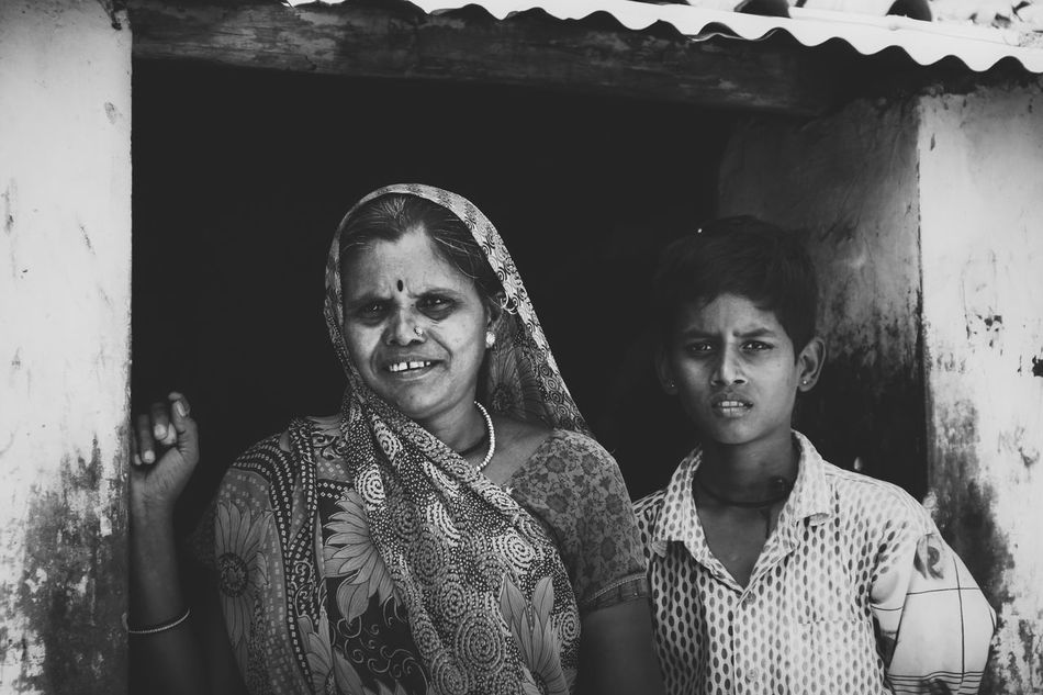 Mother and son Black And White Boy Casual Clothing Eyeemblack&white India Indian Indian Saree Lifestyles Mother And Son Old House Person Portrait Real People Standing The Portraitist - 2016 EyeEm Awards Village Life