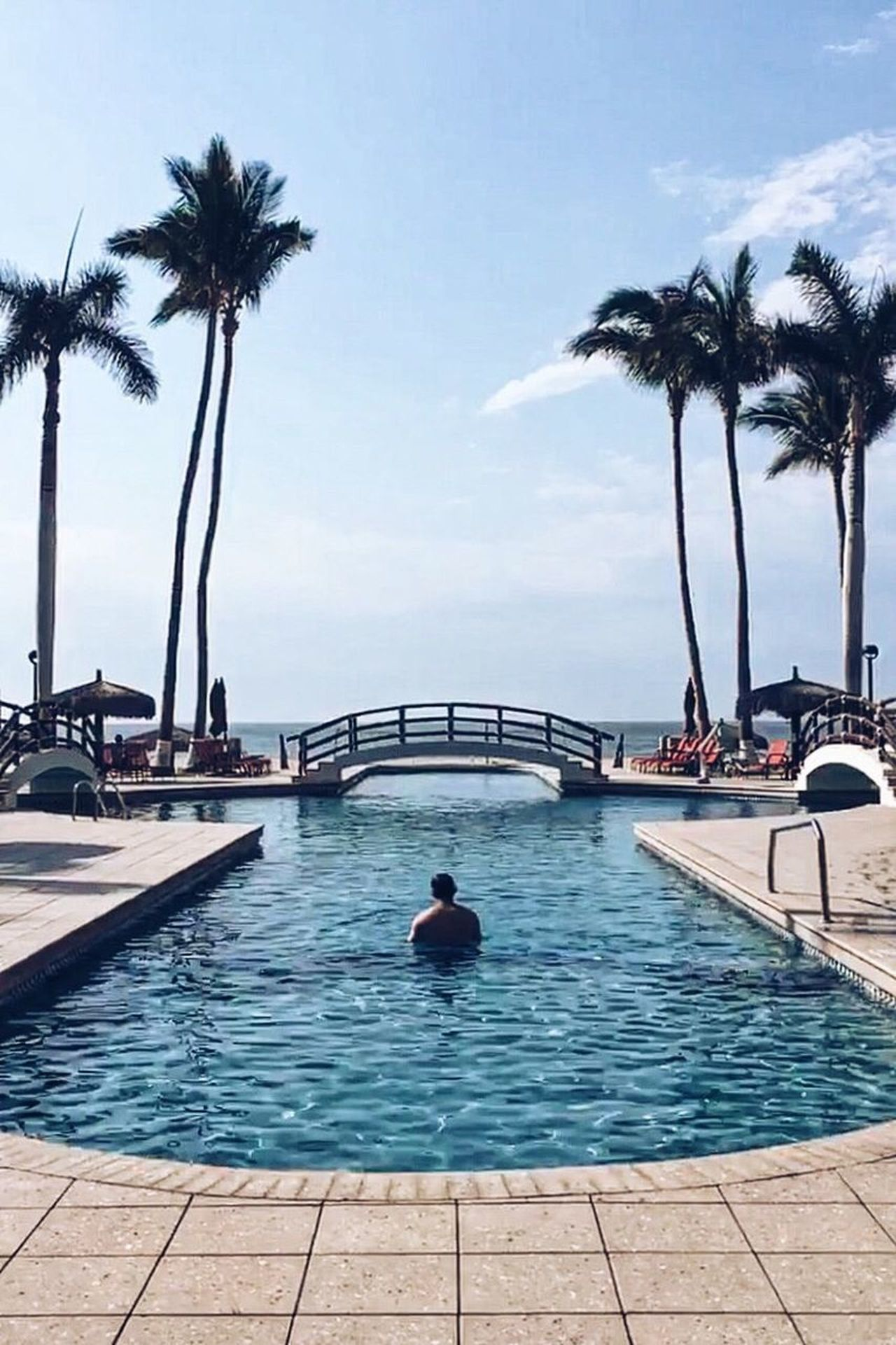 Pool Palm Tree Swimming Pool Water Sky Outdoors Vacations Relaxation