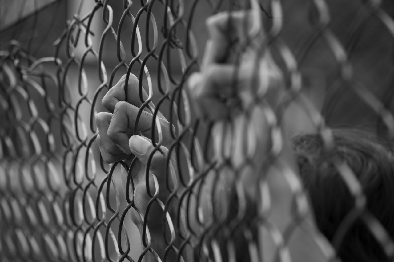 Protection Safety Chainlink Fence Outdoors Selective Focus Day Poison Ilustration Ilustracion Blackandwhite Monochrome Prison Hand Human Body Part Cage Caged Cages Caged Freedom Ilustrasi